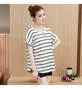 Women Comfy Loose Striped Short Sleeve Maternity Tops
