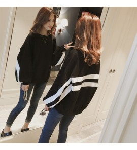 Women Black Jacket with White Stripe Detail Maternity Tops