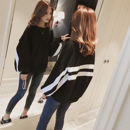 Women Black Jacket with White Stripe Detail Maternity Tops