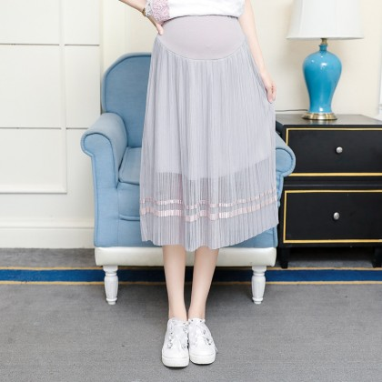 Women Spring and Autumn Mesh Long Stomach Lift Pleated Maternity Skirts
