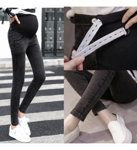 Women Stomach Lift Stretch Denim Trousers Maternity Pants