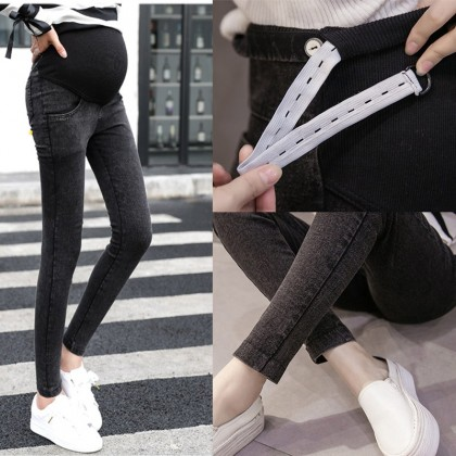 Women Stomach Lift Stretch Denim Trousers Maternity Pants