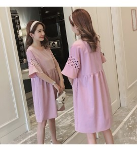 Women Summer Baby Doll Five Point Sleeve A Line Flowy Skirt  Nursing Wear