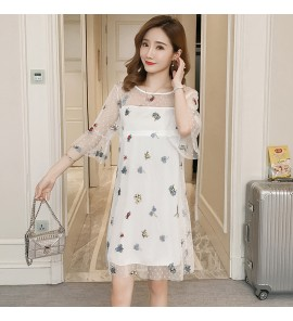 Women Out Spring Fashion Mesh Embroidered  Postpartum Nursing Wear