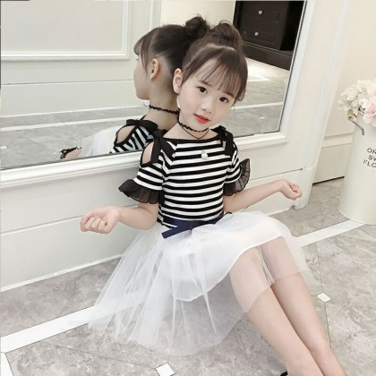 Kids Girls Dress Short Sleeved Ocean Off Shoulder skirt Mesh Kids Clothing Set