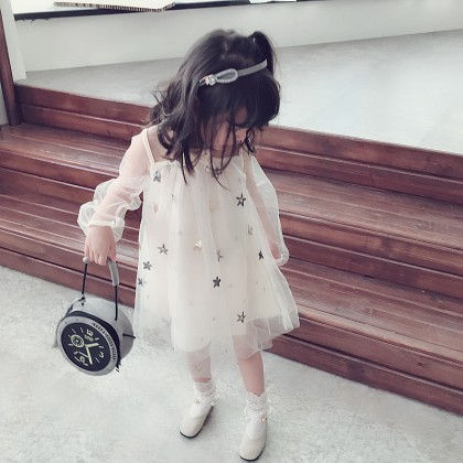 Kid Girls Summer Sweet Gauze Dress Temperament Star Baby Tutu Kids Clothing Dress