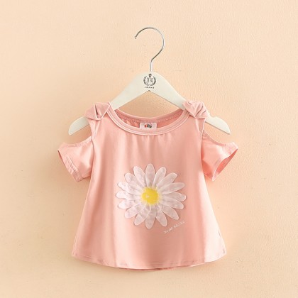 Kids Girls Strapless Short-Sleeved Floral Design T-Shirt Round Neck Kids Clothing Tops