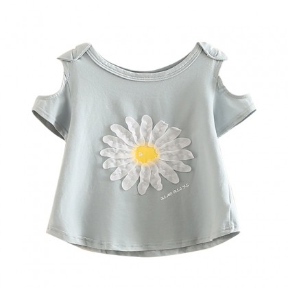 Kids Girls Strapless Short-Sleeved Floral Design T-Shirt Round Neck Kids Clothing Tops