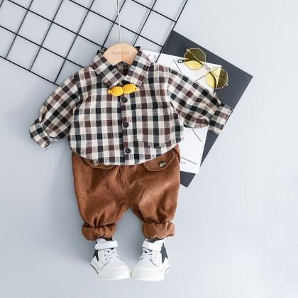 Kids Boys Spring  Korean Stripe Version Foreign Two-Piece Outfit Kids Clothing Set