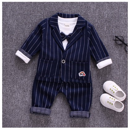 Kids Boys Korean Comfy Outfit Stripe Cotton Boys Spring Outfit Kids Clothing Set