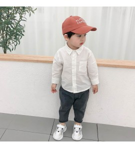 Kids Boys Shirt Spring Solid Cotton Color Long-Sleeved Shirt Tide Kids Tops