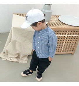 Kids Boys Shirt Spring New Fashion Striped Cotton Warm Tide Clothes Kids Tops