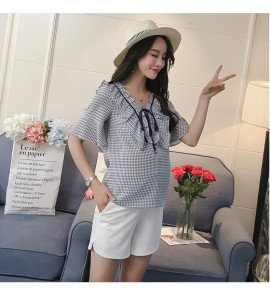 Women Maternity Short Stretch Stomach Lift Cotton Long Section Maternity Shorts