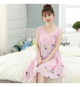 Women Sleepwear Sleeveless Cartoon Loose Washed Dress Pajama Maternity Sleepwear
