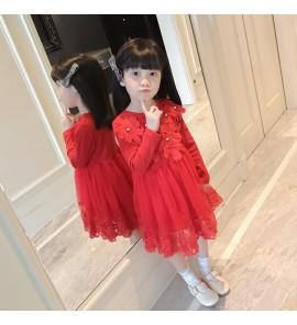 Kids Girls Dress Skirt Pattern Pearl Stitching Gauze  Princess Kids Clothing Set