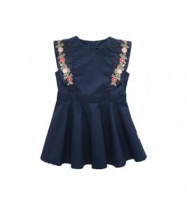 Kids Girls Dress Summer Cotton Vest Sleeveless Cute Embroidered Kids Clothing Set