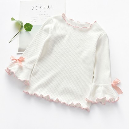 Kids Girl Tops Bottoming Shirt Korean Cotton Tops Long Sleeve Kids Clothing Tops