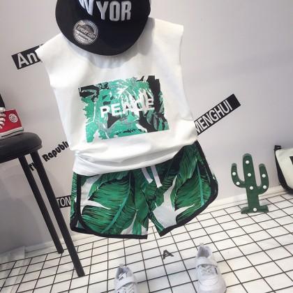Kids Boys Set Summer Boys Beach Korean T-shirt Shorts Sleeved Kids Clothing Set
