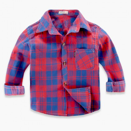 Kids Boys Top Long Sleeve Shirt Cotton Jacket Baby Plaid Shirt Kids Clothing Tops