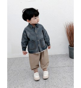 Kids Boys Tops Boys Denim Shirt Korean Spring Children's Cute Kids Clothing Tops