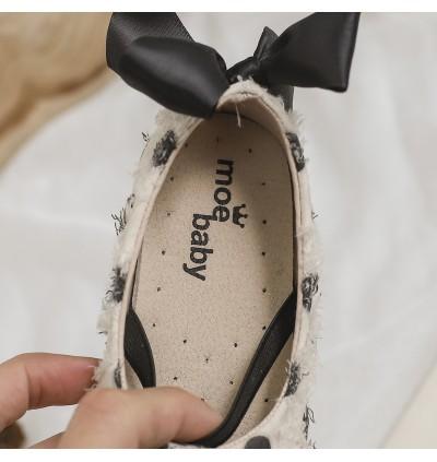 Kids Girls Shoes Small Leathers Peas Wave Point Soft Bottom Princess Shoes Kids