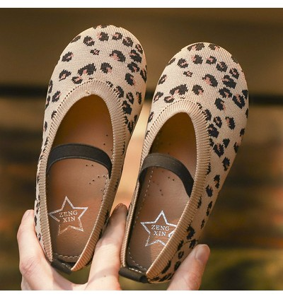Kids Girls Shoes Children  Soft Cute Fashion Breathable Leopard Knit Shoes Flats