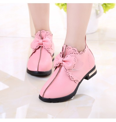Kids Girls Shoes Korean  leather children's high-heeled Soft Princess Child Shoes