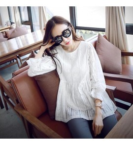 Women Maternity Tops Round Neck Sleeved Long Laced Autumn Cute Dress Tide Cotton