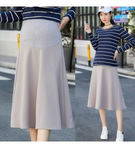 Women Maternity Skirts Spring Pregnant Stretch Stomach Korean Style Solid Color
