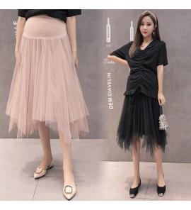 Women Maternity  Spring  Fashion Irregular Mesh Pregnant Stomach Lift Long Skirt