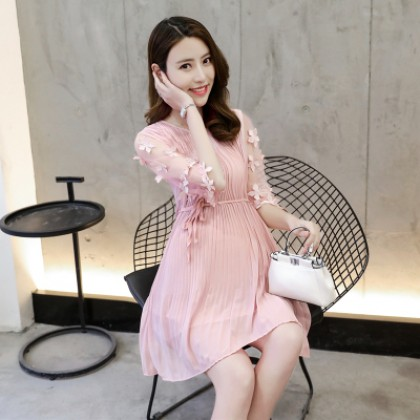 Women Office Working Chiffon Flora Pleated Lacing Maternity Dress