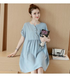 Women Nursing Wear Pregnant Long Summer Dress  Breastfeeding Short Sleeve Loose