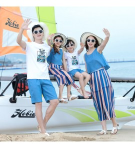 Parent Child Clothing Beach Children Family of Three Summer Warm Cotton Clothing