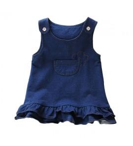 Kids Clothing Girls Set Dress Summer Denim Raffles Baby Girl Summer Outfits Cute