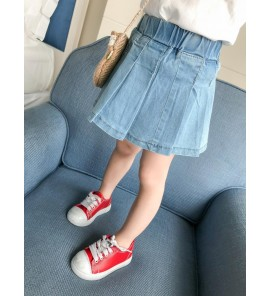Kids Girls Bottoms Clothing Children's Spring Denim Pleated Princess Cute Skirts