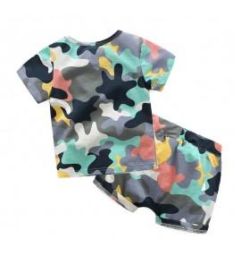 Kids Clothing Boys Set Children New Summer Shorts T- Shirts Camouflage Children