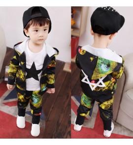 Kids Clothing Boys Set Long Sleeved Suit Children's Summer Two Piece Tide Cotton