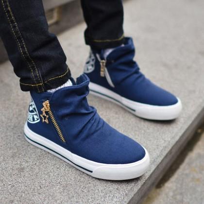 Kids Boys Shoes Children High Canvas Sneakers Solid Color Simpler Korean Version