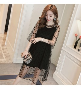 Women Maternity Pregnant Fresh Fashion Summer Spring Mesh Gauze Comfy Lace Dress