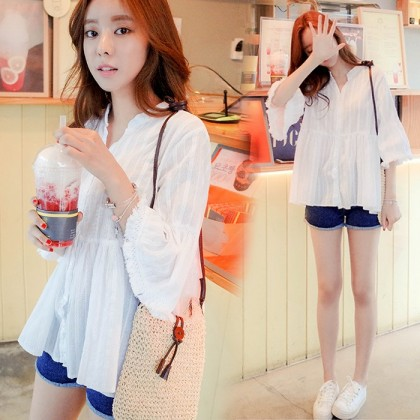 Women Maternity Top Fashion Pregnant  Five Point Sleeve V Neck Doll Style Outfit