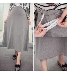 Women Maternity Skirts Pregnant Summer Cotton Long Skirt High Waist Stomach Lift