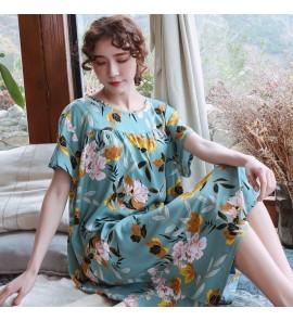 Women Maternity Sleepwear Long Short Sleeved Women Night Dress Loose Cotton Silk