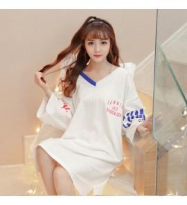 Women Maternity Sleepwear Cotton Long Loose Night  Dress Silk Fabric V-Neck Wear