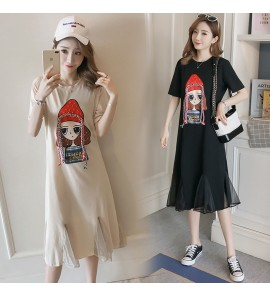 Women Maternity Nursing Wear Korean Long Breastfeeding Clothes Postpartum Summer