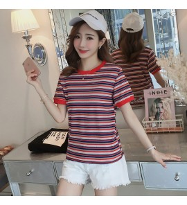 Women Maternity Nursing Wear Female Cotton Short Sleeve Shirt Stripe Round Neck