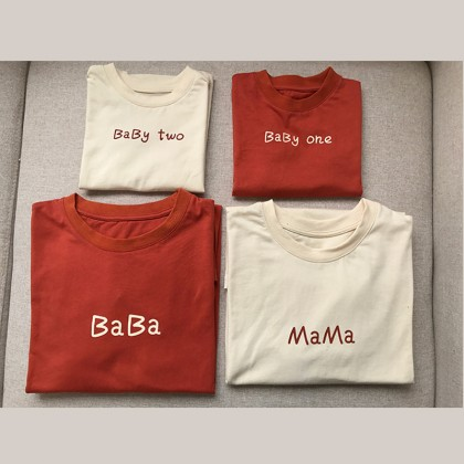 Parent Child Clothing Loose Summer T- Shirts Family of Four Short Sleeve Outfits