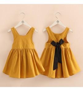 Kids Girls Dress Set Mustard Sleeveless Bow Skirt Summer Spring Children Outfits