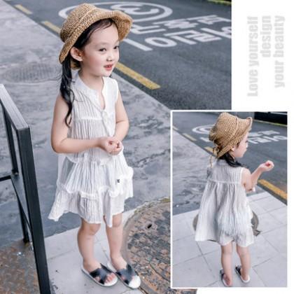 Kids Girls Dress Sleeveless Summer Light Weight Chiffon Dress Korean Wind Skirts