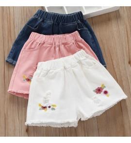 Kids Girls Bottoms Colorful Children Female Summer Shorts Tattered Korean Style