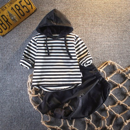 Kids Boys Set Male Baby Spring Suit Sweater Jacket Stripe Casual Foreign Clothes